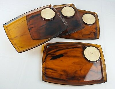 4-Piece Set Unique Food and Drink Trays Outdoor Plates Lap Trays Vintage Swirl
