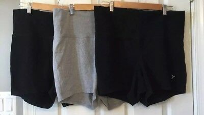 Lot of 3 Pairs •  Old Navy Maternity Active Wear Shorts Large Black And Grey