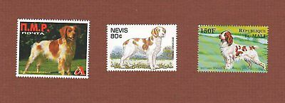 Brittany dog stamps set of 3 MNH