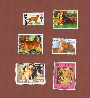 Golden Retriever dog postage stamps set of 5, 1 seal