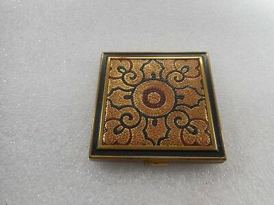 Vintage Zell U.s.a. Loose Powder Compact Beautiful Leather Top Great Details!!!!