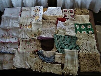 Vintage 57 PC Linen Estate Lot Tablecloth  Doilies  Runners Embroidery