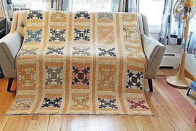 Vtg Cotton cotton batting hand quilted Quilt Geometric Barn Door variant 64 x 81
