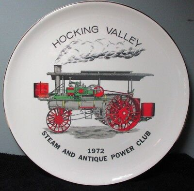 """Vintage HOCKING VALLEY 1972 """"STEAM and ANTIQUE POWER CLUB"""" Commemorative Plate"""