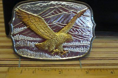 VINTAGE  SILVERTONE/GOLDTONE EAGLE   Belt Buckle MADE IN HONG KONG