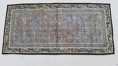 Antique Chinese textile sleeve bands metal couching on silk Qing Ching #11521
