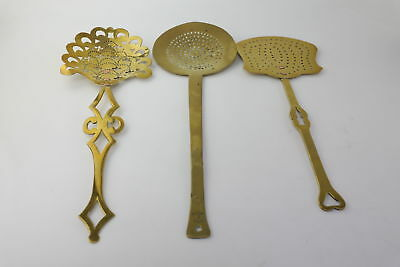 3 x Antique Late 18th/ Early 19th Century Brass Cream/Fat Skimmers