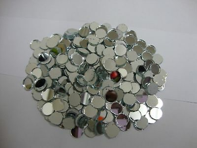 50 Glass (Shisha) Silver Mirror approx 11 mm round for embroidery.