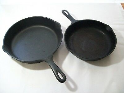"Lot of 2 Vintage Wagner Ware Cast Iron Skillets / Fry Pans 9"" & 10"""