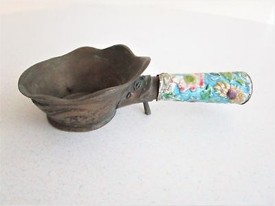 Vintage Brass Dipping Cup Chinese Twin Dragon Floral Handle Ceremonial Bath Cup