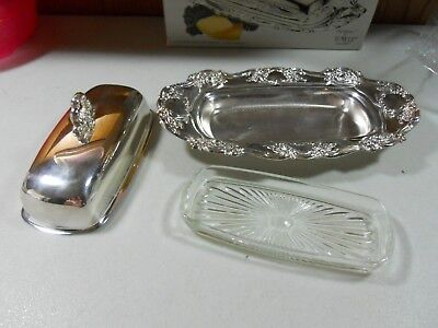 Vintage Towle Old Master Ornate Silver Plate Butter Dish Glass Tray Cover EP4107