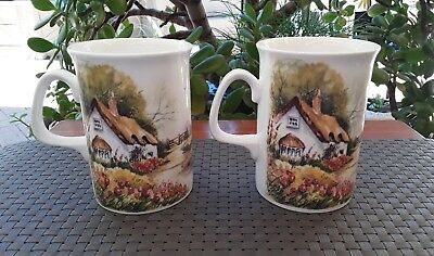 """Two Royal Doulton Expressions """"Country Cottages"""" Bone China Coffee Mugs England"""