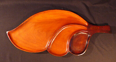 Hand Crafted Carved Wood Serving Tray Leaf Design, 3 compartment, Tiki, Tropical