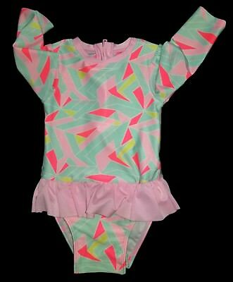 Cat & Jack Green White Coral Pink Baby Girl One Piece Swimsuit Size 18M