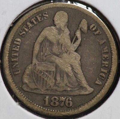 1876 CC Seated Liberty 10C Dime Coin