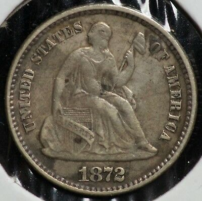 1872 H10C Seated Liberty Half Dime Coin
