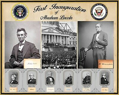 Abraham Lincoln's 1st inauguration showing capital, Lincoln, Hamlin, & Cabinet