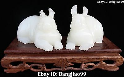 Excellent China Natural White Jade Carving Rabbit Hare Coney Animal Pair Statue