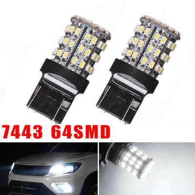 2pcs T20 7440 7443 64 SMD White 6000K Reverse Brake Tail 12V LED Bulb Light
