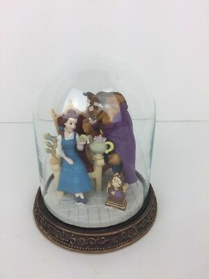 Walt Disney Beauty and the Beast Having Tea Figurine Under a Glass Dome Belle