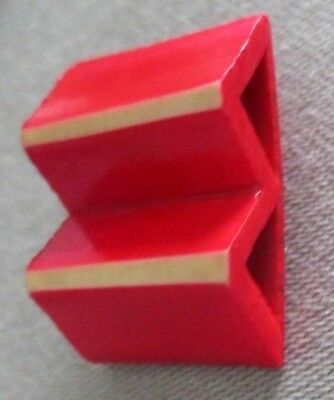"""Vintage Wood Composition Roof Top Red Button w/ White Stripes 1"""" x 13/16"""""""