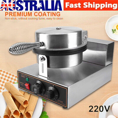 220V Electric Commercial Regular Ice Cream Waffle Cone Egg Maker Baker Machine A