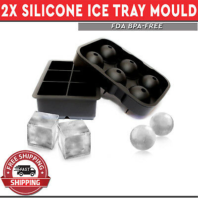 2pack Silicone Tray Ice Cube Blocks Big Large Ball Spheres Cocktail Mould Set