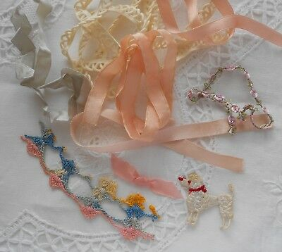 ****antique Silk Ribbon Variety Of Hand Made Crocheted Embroidered Items*****