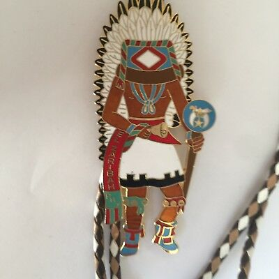 EL ZARIBAH Shrine Masonic Potentate 1989 Kachina Bolo Tie Don Meinershagen