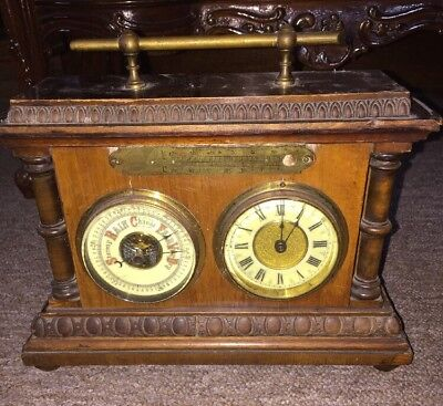 Antique  Barometer, clock, thermometer