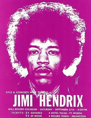 JIMI HENDRIX Original  Concert Handbill Flyer  1969 Fort Worth Texas