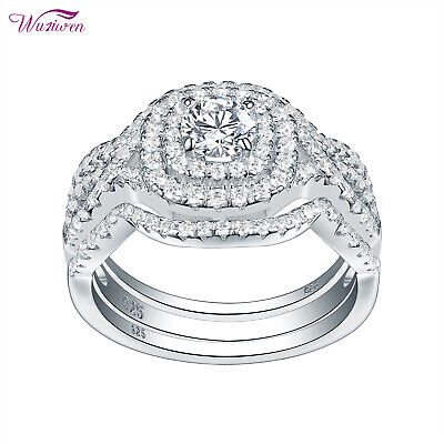 3pcs Wedding Engagement Ring Set For Women 925 Sterling Silver Round Cz Sz 5-10