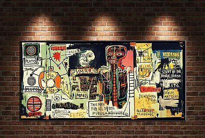 """Jean Michel Basquiat """"Notary"""" HD print on canvas large wall picture 48x24"""""""
