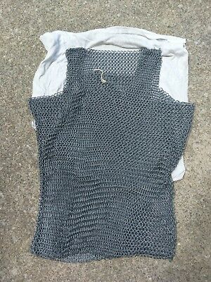 Chain mail sleeveless shirt Butted Ring Steel oiled