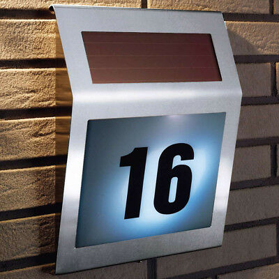Stainless Steel Wireless Solar Powered LED Light House Door Number Sign Mail Box