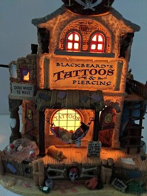 Retired Lemax Spooky Town Blackbeard's Tattoos Lighted Building
