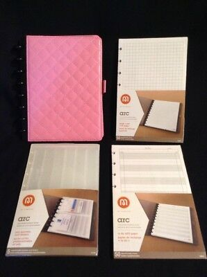 Lot of 4 ~ Pink Staples Arc Junior Binder + NEW Card Holders, To Do, Graph Paper