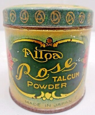 Vintage Tin Alloa Rose Talcum Powder Made In Japan With Full Of Talcum Powder