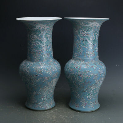 Chinese ancient antique hand make Blue Dragon vase
