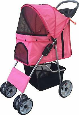 Vivo Pink Dog Puppy Cat Pet Travel Stroller Pushchair Pram Jogger Buggy With Two