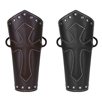 Medieval Faux Leather Arm Guard Cross Bracers Gauntlet Wristband Knights Costume