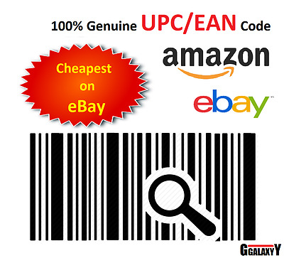 Barcodes EAN 13 UPC barcode bar code Numbers for Amazon & eBay 50 - 100000 Codes