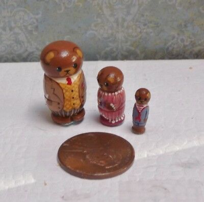 Cute 1:12 Scale Miniature Dianne Jones Three Bears Nesting Dolls