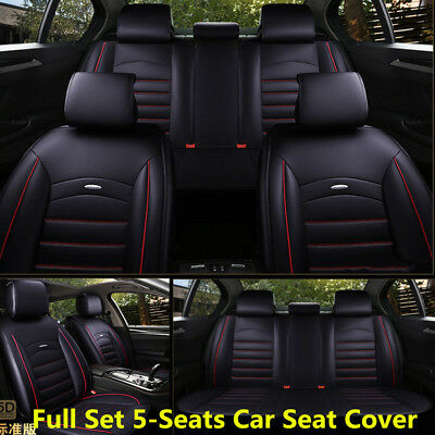 Full Set Car Seat Cover PU Leather Front & Rear 5-Seats with Pillow All Seasons