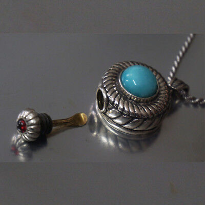 Nasal Infection Medicaments Snuff / Perfume Pendant Necklace with Amazonite Gem