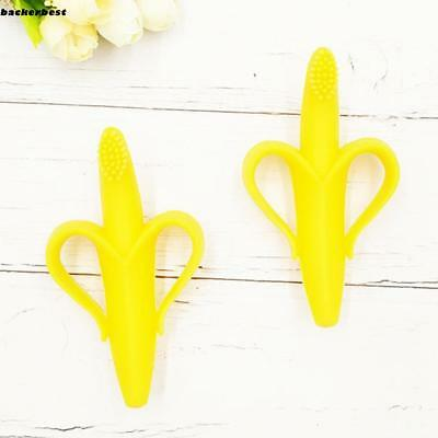 Baby Toddler Silicone Banana Teether Toothbrush Pacifier Chew Train LL