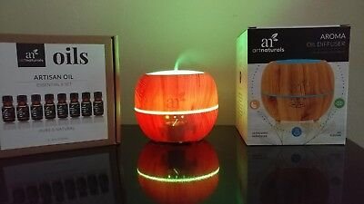 Aromatherapy Gift Set Ultrasonic Diffuser Top 8 Essential Oils W/7 Colors 150ml