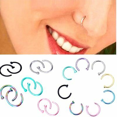 5 - 40Pcs Wholesale Surgical Steel Silver Nose Ring Hoop Cartilage Piercing Stud