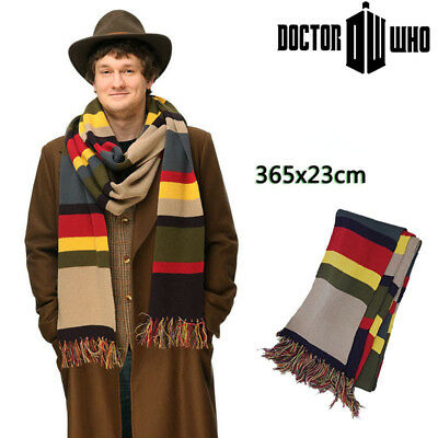 Doctor Who Long Scarf  Deluxe Striped Tom Baker Cosplay Tassel Shawl Gift 12Foot