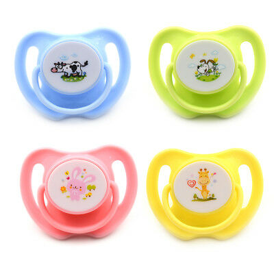 2PCS Cartoon Animal Pattern Baby Feeding Silicone Pacifier Flat Nipple SootherCS